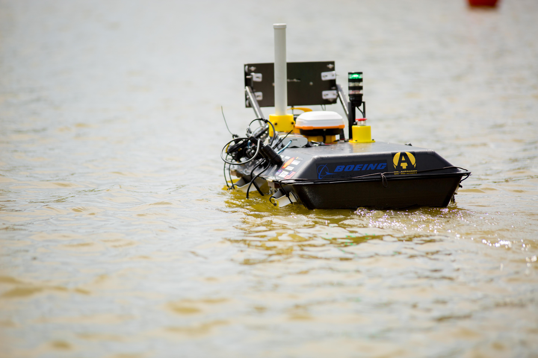autonomous robotic boat in water